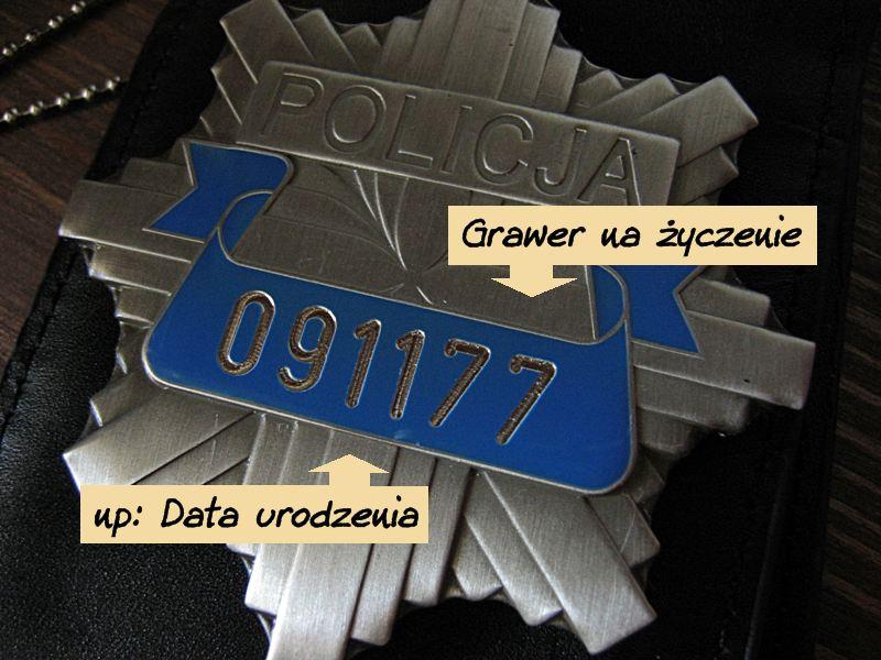 Odznaka Policja z numerem