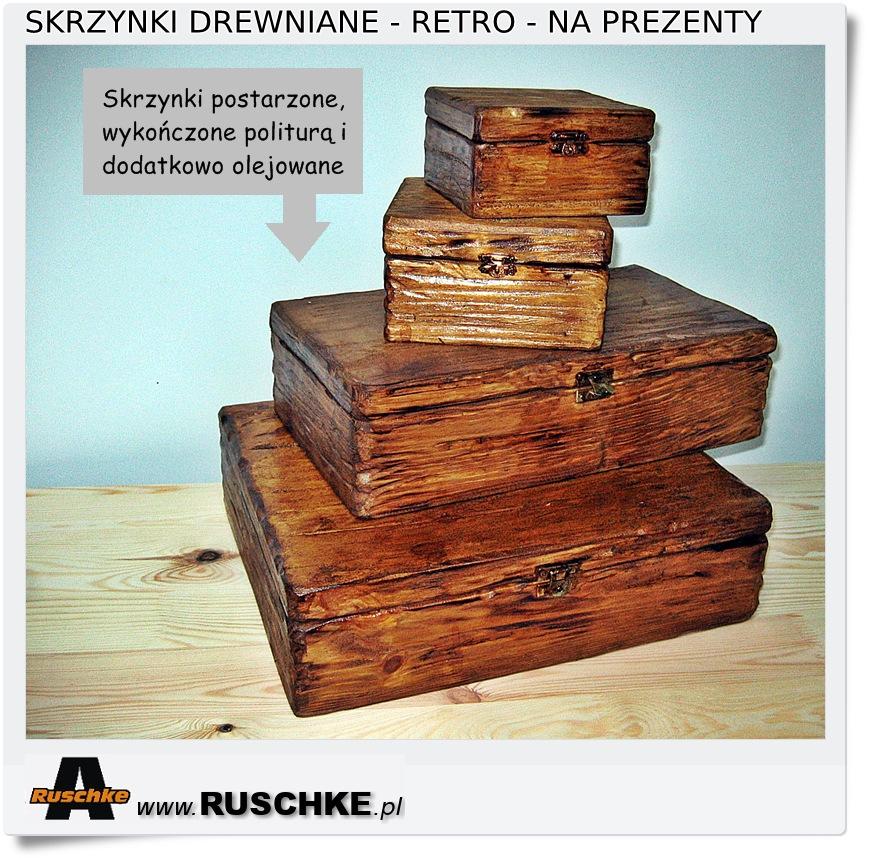 Drewniane skrzynki na prezenty
